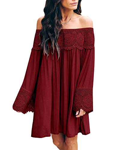 ZANZEA Vestidos Mujer Verano Casual Tops Cortos Tallas Grandes Manga Larga Blusa Playa Fiesta Fuera Hombro Camisetas C-Encaje Vino Rojo XL
