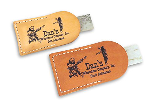 """Bundle- 2 Piece Set of Genuine Arkansas Pocket Knife Sharpening Stones Whetstones 3"""" x 1"""" x 1/4"""" in Leather Pouches- Soft (Medium) and Hard (Fine) MAP-13A-L/FAP-13A-L"""