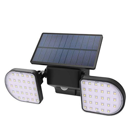 Neetto 56 Led Luces Solares Aire Libre Inalámbricas Ip65 Impermeable Sensor Movimiento Solar Luces Nocturnas, Doble Cabezal Ajustable, Foco, Seguridad Garaje Jardín Entrada Puerta Entrada Pared - L601