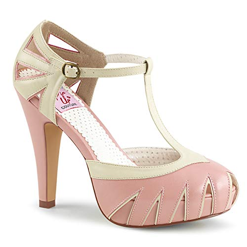 Pin Up Couture BETTIE-25 B. Pink-Cream Faux Leather UK 6 (EU 39)