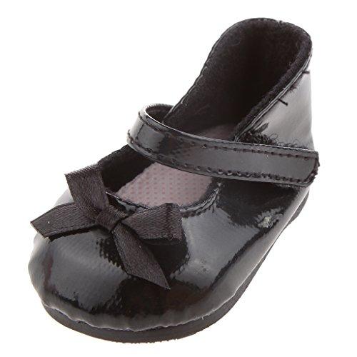 Injoyo Vintage Black Bow Schuhe Für 18 Zoll Girl Doll Party Zubehör