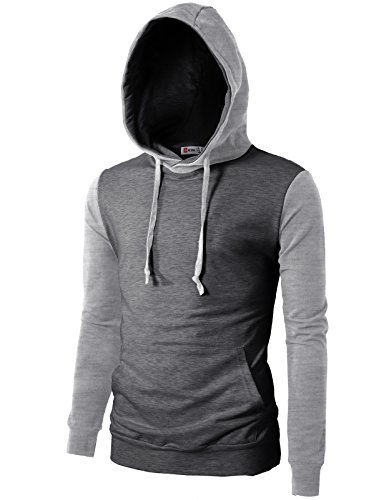 H2H Mens Casual Slim Fit Raglan Style Hoodie With Pocket CHARCOAL US XL/Asia 2XL (CMTTL073)