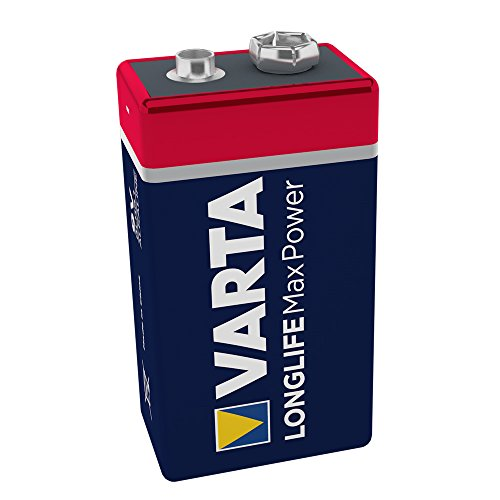 VARTA Longlife Max Power 9V Block 6LR61 Batterie, Alkaline E-Block Batterien ideal für Feuermelder...