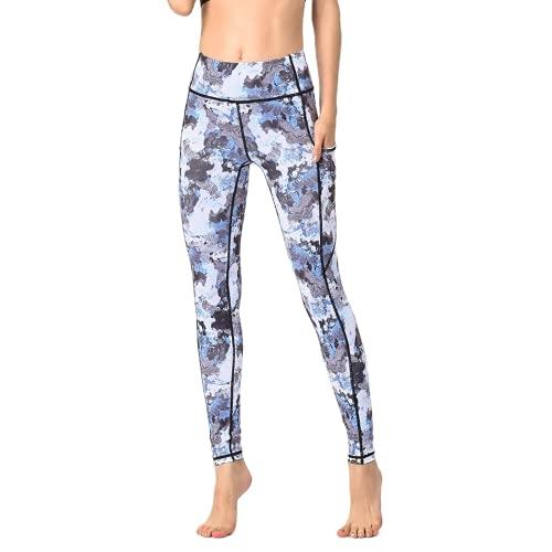 QTJY Pantalones de Yoga de Viento de Tinta para Mujer, Cintura Alta, Levantamiento de Cadera, Deportes, Fitness, Yoga, Pantalones, Pantalones Deportivos para Correr al Aire Libre, D M
