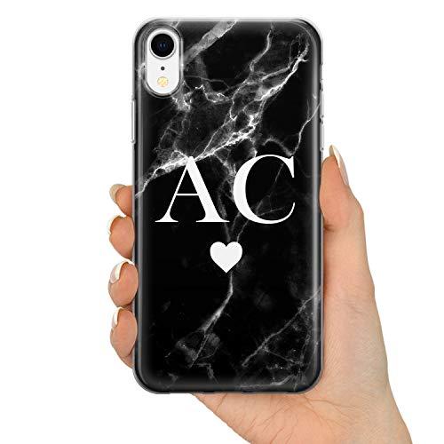 TULLUN Personalisietr Schwarzer Marmor Marble Weiß Initialen Name Text Brauch Custom Schutzhülle aus Hartplastik Handy Hülle für iPhone - Schwarzes Marmor-Liebes-Herz V2 - für iPhone 7 Plus / 8 Plus