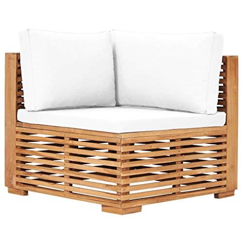vidaXL Teak Massiv Garten Ecksofa mit Cremeweißer Auflage Lattendesign Gartensofa Sofa Gartenmöbel Einzelsofa Lounge Sitzmöbel Terrasse