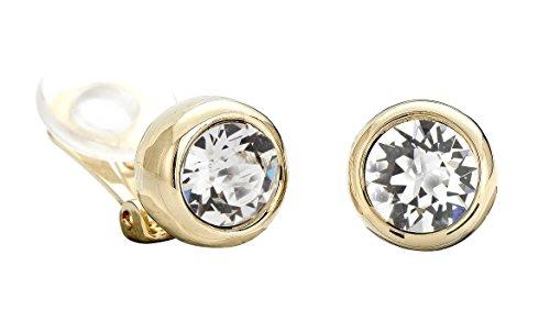 Traveller Orecchini con clip e cristalli Swarovski; oro 22 carati rodiato. 10 mm. e placcato Oro, colore: oro, cod. 156240