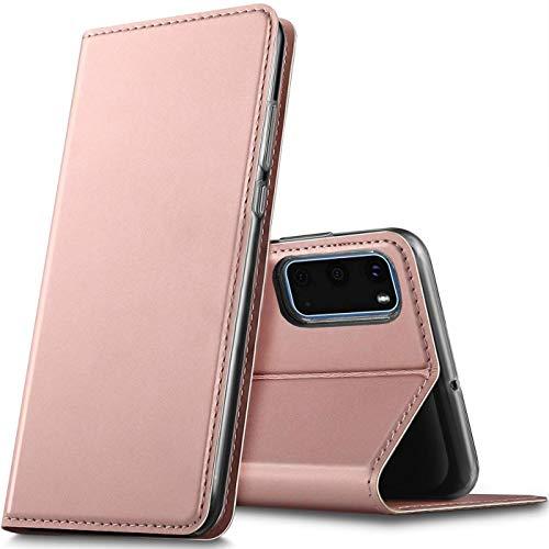 Verco Handyhülle für Samsung Galaxy S20, Premium Handy Flip Cover für Galaxy S20 Hülle [integr. Magnet] Book Case PU Leder Tasche (6,2 Zoll), Rosegold