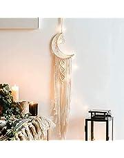 Dremisland Macramé Colgante de Pared Boho Macrame Mural Tejido Tapiz de Pared Mandala Luna Atrapasueños Decoración de Arte de Pared Tapices de Punto para Dormitorio Sala de Estar (Luna)