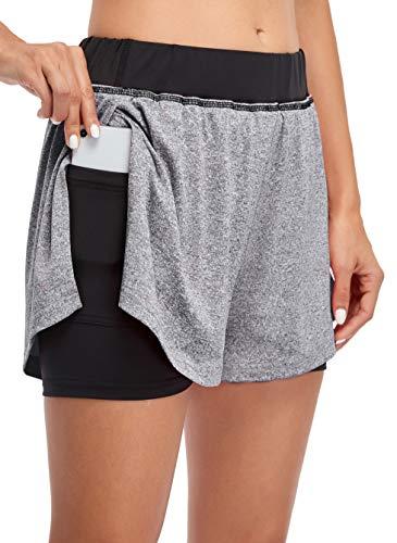 COOrun Women's Yoga Shorts Double Layers Short Elastic Waistband Lightweight Walking Shorts 2 in 1 Short Misty Grey Medium