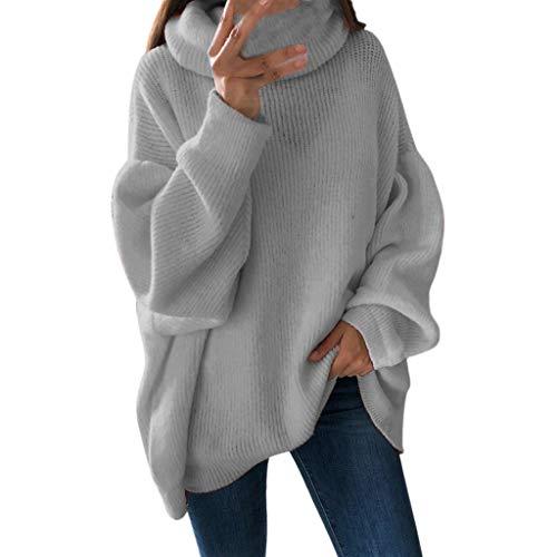 Maglioni Donna, ITISME Maglione Donna Invernale Lungo Taglie Forti Tinta Unita Allentata Collo Alto Pullover Maglioni Vestito Sexy Slim Fit Maglia Maglieria