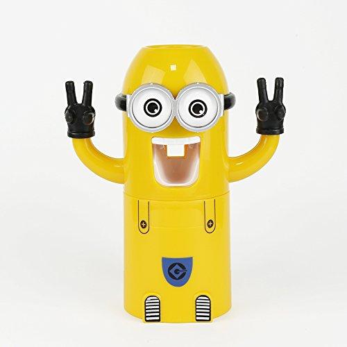 Generic Zwei Eye: Automatische Zahnpasta Spender Badezimmerzubehör Minion Zahnpastaspender Kinder Kunststoff Zahnbürstenhalter Badezimmer Produkte