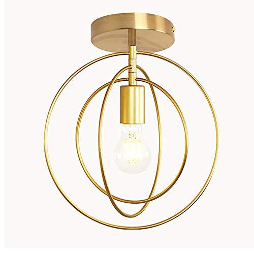 Deckenleuchte LED Schlafzimmerlampe Deckenlampe Kreative Modern Landhaus Stil Eisen Kronleuchter E27 Lampenfassung für Innen Wohnzimmerlampe Kinderzimmer Esszimmer Küche Flur Deko (Gold) (A)