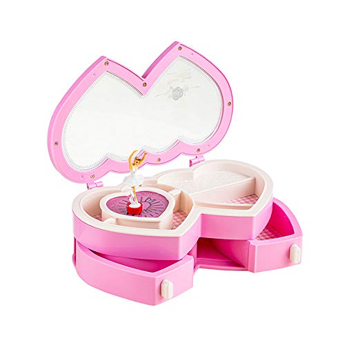 MiiAOPAI-Jewelry sieradenkistje met muziek, met ballerina, make-upspiegel, sieradendoosje, voor het opbergen van sieraden, ideaal voor meisjes