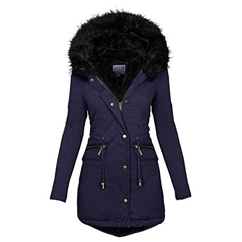 Abrigo de invierno para mujer, cálido, grueso de invierno, parka, abrigo, chaqueta de invierno, gruesa y cálida, abrigo de invierno acolchado grueso con capucha, cremallera y cordón, marine, XL