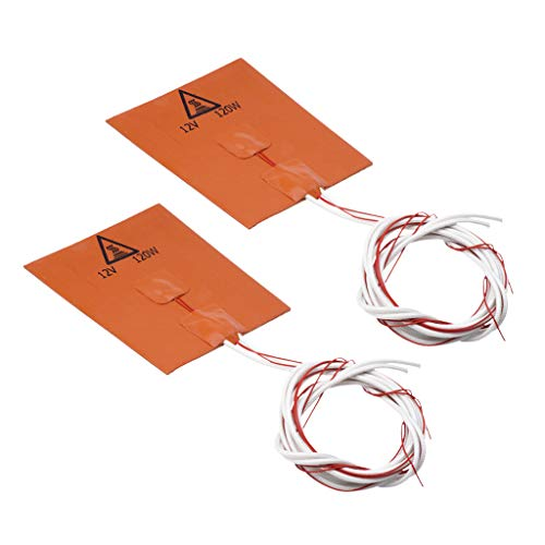 KESOTO 2x 120W, 12V,120x120mm Silicone Heater Heating Pad for 3D Printer Hot Bed
