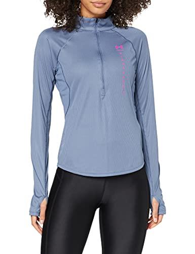 Under Armour Speed Stride Attitude - Camisa de Manga Larga con Cremallera para Mujer, Mineral Blue Meteor Pink Reflective (470), XS