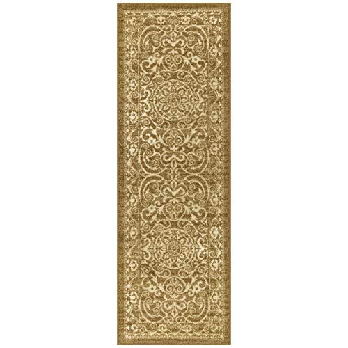 Maples Rugs Pelham Vintage Runner Rug Non Slip Washable Hallway Entry Carpet [Made in USA], 2 x 6, Khaki (AG4055701)