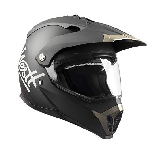 Westt Cross X - Casco De Moto Motocross Integral con Doble Visera para Motocicleta - Negro Mate - Certificado ECE
