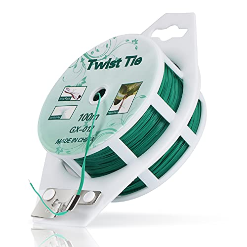 YDSL 328ft (100m) Twist Ties, Green Garden Plant Ties with Cutter for Gardening and Office Organization, Home
