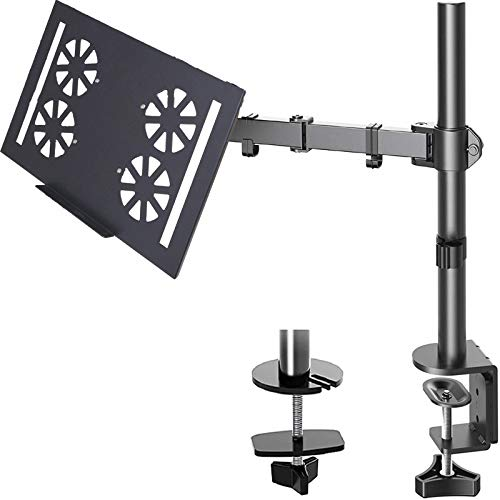 FORGING MOUNT Laptop Notebook Desk Mount Stand -Height Adjustable Single Monitor Arm Mount with C Clamp, VESA 75,100mm for Alternative Laptop 12-19' and Monitor 15-32 inch