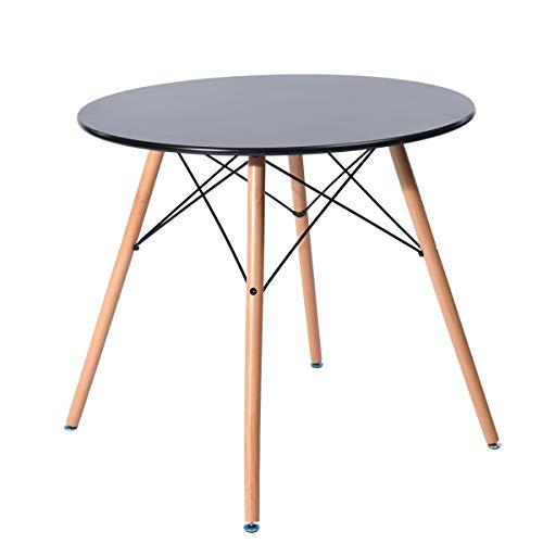 Table Salle à Manger Ronde 2 à 4 Personnes - Pieds en Bois - Style Scandinave - Plateau Coloris Noir