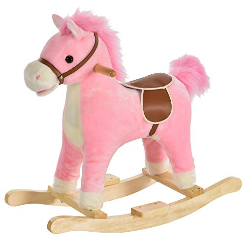 HOMCOM Kids Plush Rocking Horse w/ Sound Moving Mouth Wagging Tail Children Rocker Ride On Toy Gift 36 - 72 Months Pink
