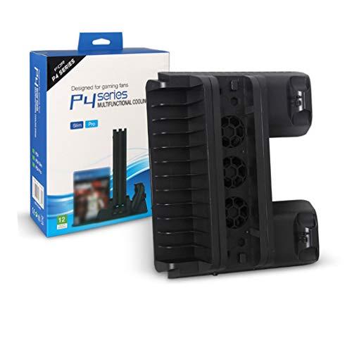 Meipai Kompatibel mit PS4 Pro/Slim Spielkonsole, vertikaler Standventilator, Dual-Gaming-Controller, Ladestation, Spielkartenaufbewahrung.