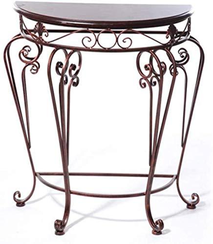 Blumenständer European Style Iron Classical Schreibtisch Halbrunder Tisch Eingangstisch Tee Beistelltisch Set Blumenständer 60 * 30 * 70cm Stabil, Platzsparend (farbe: Bronze)-bronze Blumentreppe