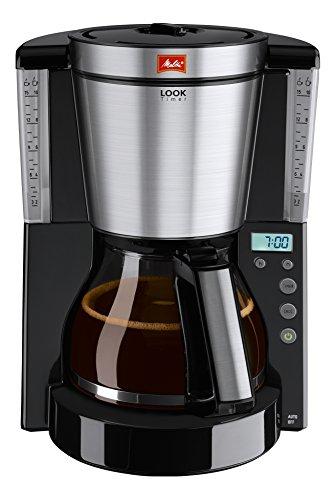 Melitta Look Timer 1011-08, Filterkaffeemaschine mit Glaskanne und Timer-Funktion, AromaSelector, Schwarz