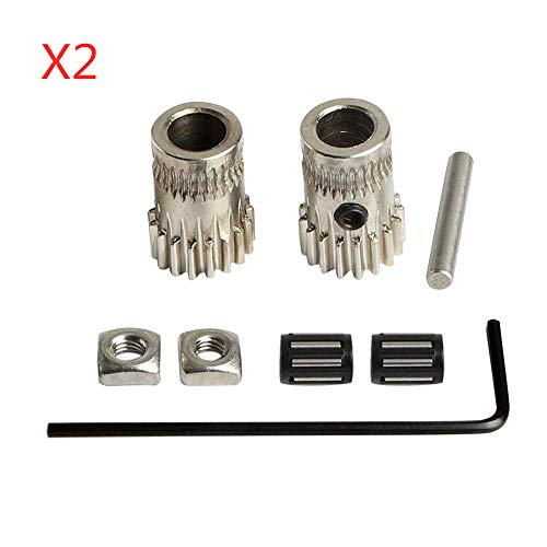 BZ 3D Upgrade MK2 / MK3 Teile Antriebsradsatz geklont B tech Doppelzahnrad Stahlscheiben Kit Zahnrad Extrusionsrad für DIY Prusa i3 (2 Satz)