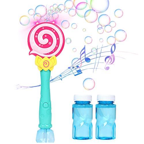 Toyssa Pompas de Jabon para Niños Portátil Automatic Maquina Burbujas Piruletas con Luz y Música Juguete Burbujas Verano al Aire Libre Juego para Niños Fiesta de Cumpleaños