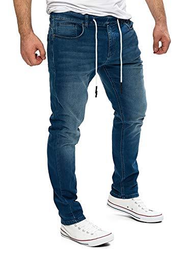 Yazubi Jogger Herren Sweathose in Jeansoptik Baumwoll JoggJeans Haremshose Jogging Jeans Erik, Blau (Feded Blue 174021), W33/L34