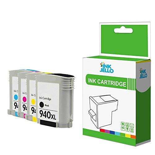 Inkjello Kompatible Tintenpatrone Ersatz für HP Officejet Pro 8000Wireless, 8500A809A909a, 8500A, 8500A909g, 8500A909N, 8500(a-i-o), 8500Wireless, 8500A (e-a-i-o) 940XL (B/C/M/Y 4er Pack)