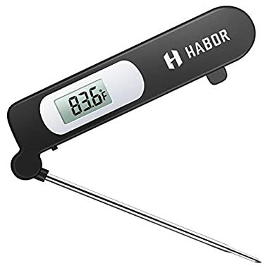 Food Thermometer, Habor Meat Thermometer Kitchen Instant Read Thermometer with Digital LCD, Folding Long Probe for BBQ Grill Smokers Kitchen Chicken Cake Brewing Milk
