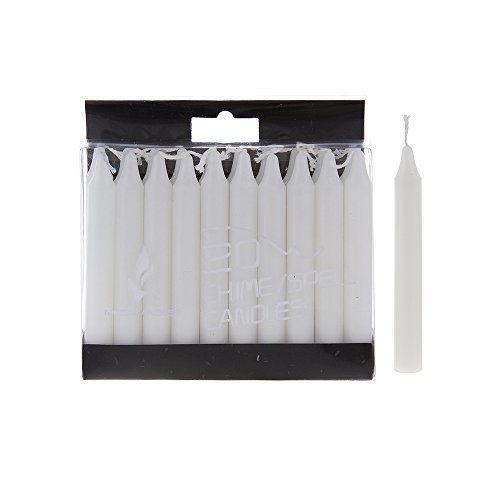 Mega Candles 20 pcs Unscented White Mini Taper Candle, 4 Inch Tall x 1/2 Inch Diameter, Great for Casting Chimes, Rituals, Spells, Vigil, Witchcraft, Wiccan Supplies, Wax Play & More