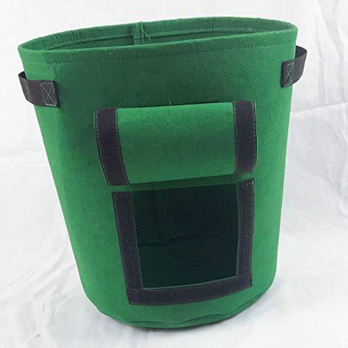 SZKP Aardappel tassen, 3 Pack (7/9 / 12Gallon) Stof Bloempotten Soft Vilt-achtige textuur Met Venster Flap en handvatten, for aardappel, tomaat, wortel. (Color : Green, Size : M)