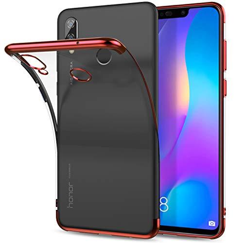 8X Huawei Honor / Honor View Case 10 Lite Cover, transparente macio TPU Silicone Case QULLOO muito fina, caso protetor Border Bumper Caso eletrolítico de absorção de choque perfeita aderência 8X Huawei Honor / Honor Ver 10 Lite - Vermelho