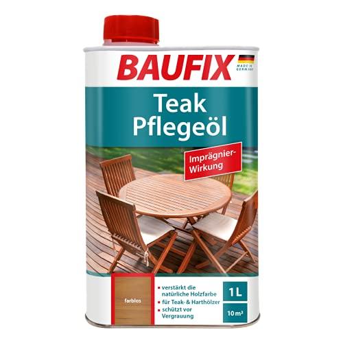 BAUFIX Teak-Pflegeöl farblos, 1 Liter, Teaköl für innen und außen, für Teakholz und Hartholz, schützt vor Vergrauung, mit Imprägnierwirkung