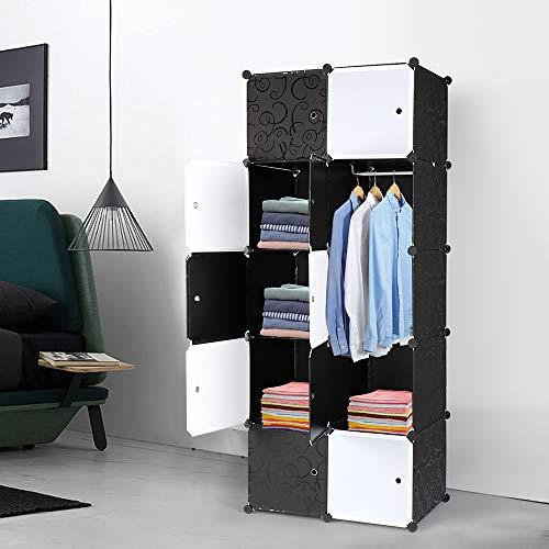 LIBYPNV Organizador apilable de 10 cubos, organizador de armario, cubo de plástico, estantes de almacenamiento, diseño multifuncional modular con barra para colgar muebles de oficina y sala de estar