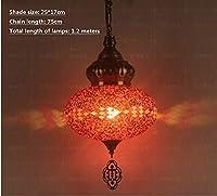 赤いドラゴン カラーティファニーガラストルコのシャンデリア通路カフェバー地中海のロマンチックなシャンデリア、G
