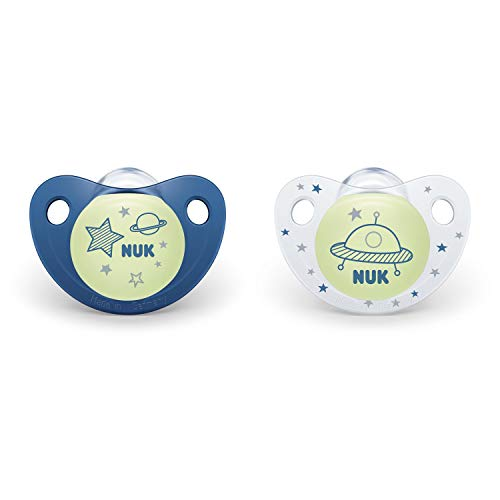 NUK CuteasaButton GlowinTheDark Orthodontic Pacifiers Boy 618 Months 2Pack