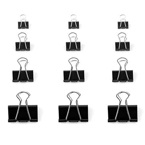 D.RECT Foldback-Klammern | 48 Stück 4x12 Stück 15/19/25/32mm | FoldBack Klemmen Vielzweckklammern Papier Metall Binder Clips für Notizen Briefpapier Clip Bürobedarf Schwarz