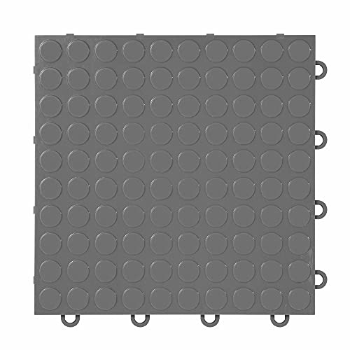 """IncStores ⅜ Inch Thick Nitro Interlocking Garage Floor Tiles   Plastic Floor Tiles for a Stronger and Safer Garage, Workshop, Shed, or Trailer   12""""x12"""" Tiles, Coin, Graphite, Pack of 52"""