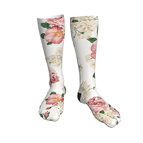 Flower11 Womens Socks,50cm Athletic Tube Socks Over The Calf Stockings Non See Through Cute Cartoon Thigh High Stockings Comfort Breathable Casual Socks