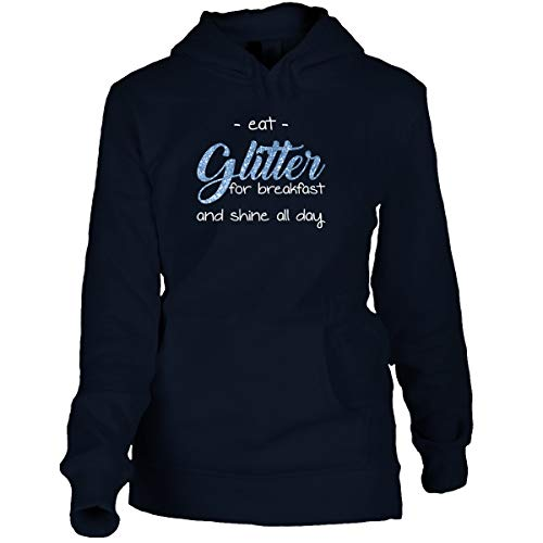 Shirtfun24 Damen Oversize Hoodie Eat Glitter for Breakfast and Shine All Day Statement Spruch Sprüche Hoodie Navy blau, XXL