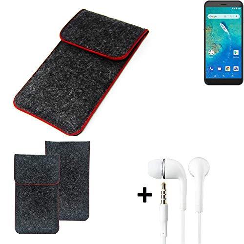 K-S-Trade Handy Schutz Hülle Für General Mobile GM 8 Go Schutzhülle Handyhülle Filztasche Pouch Tasche Hülle Sleeve Filzhülle Dunkelgrau Roter Rand + Kopfhörer