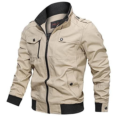 Chaqueta de carga informal para hombre, para exteriores, con múltiples bolsillos, estilo safari, caqui, L