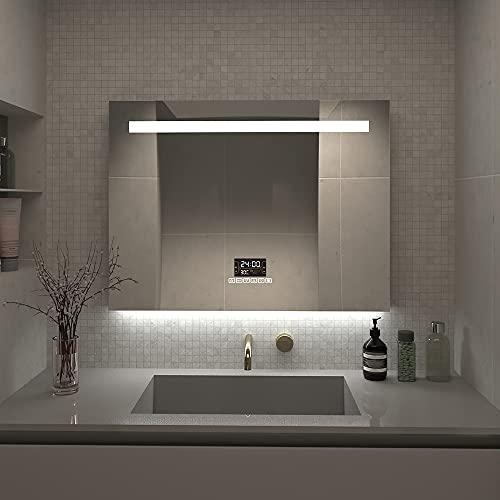 Qiyang 800x600mm LED-Badezimmerspiegel mit Bluetooth-Lautsprecher Zeit- und Temperaturanzeige LCD-Bildschirm aus Aluminium, umweltfreundlicher Spiegel Wandmontierter
