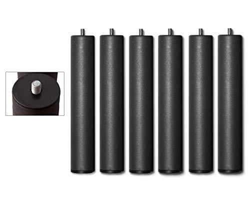 Duérmete Online - Juego de 6 Patas de 27 cm, para somier y base tapizada, cilíndricas roscadas, color Gris